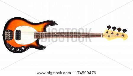 red and black electric  bass guitar isolated on white