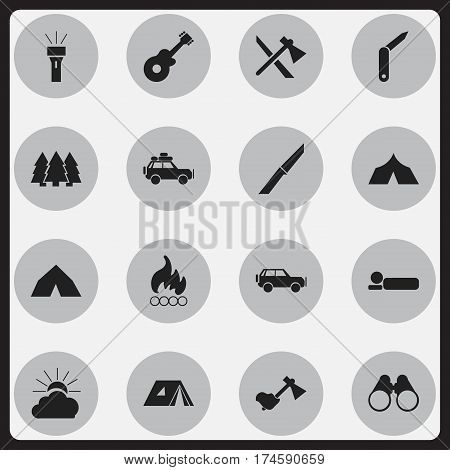 Set Of 16 Editable Travel Icons. Includes Symbols Such As Lantern, Blaze, Sport Vehicle And More. Can Be Used For Web, Mobile, UI And Infographic Design.