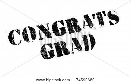 Congrats Grad rubber stamp. Grunge design with dust scratches. Effects can be easily removed for a clean, crisp look. Color is easily changed.