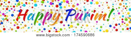 Vector Web Banner Happy Purim carnival text with colorful rainbow colors paper confetti frame isolated on white background. Birthday template. Purim Jewish holiday.