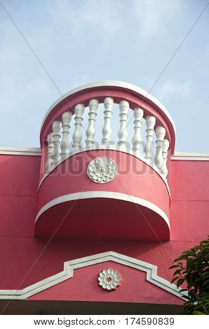 pink new modern decorative balcony in South India