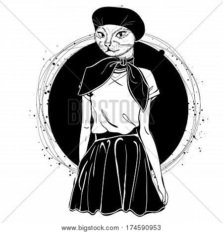 Vector elegant woman with cats head with beret and scarf monochrome