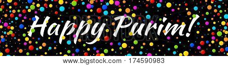 Vector Web Banner Happy Purim carnival text with colorful rainbow colors paper confetti frame isolated on black background.  Birthday template. Purim Jewish holiday.