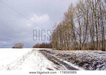 Winter landscape with melioration ditch trench near forest
