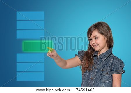 Smiling little girl is choosing from a series of rectangles the green transparent rectangle empty and ready for your text. All is on on the blue gradient background.