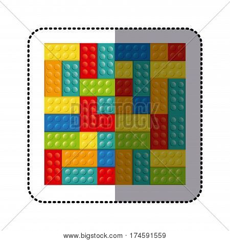 sticker colorful building toy bricks lego icon toy vector illustration poster