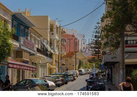 Rethymno, Greece - August  1, 2016: Street.