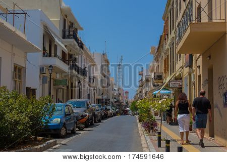 Rethymno, Greece - August  1, 2016:  Narrow Street.