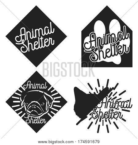 Vintage animal shelter emblems. Vector illustration, EPS 10
