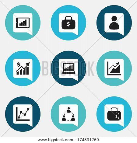 Set Of 9 Editable Statistic Icons. Includes Symbols Such As Progress, Money Bag, Cash Briefcase And More. Can Be Used For Web, Mobile, UI And Infographic Design.