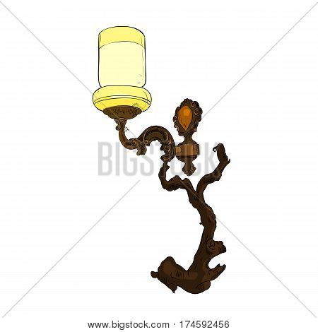 Vector color sketch of sconce. Hand draw illustration.