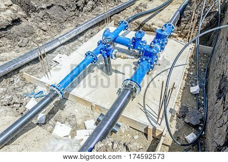 Master valve for water supply system junction place with hdpe pipeline.
