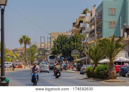Rethymno, Greece - August  1, 2016: Embankment.