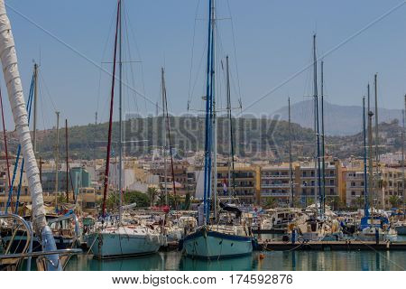 Rethymno, Greece - August  1, 2016: Yachts In The Rethymno Harbour.