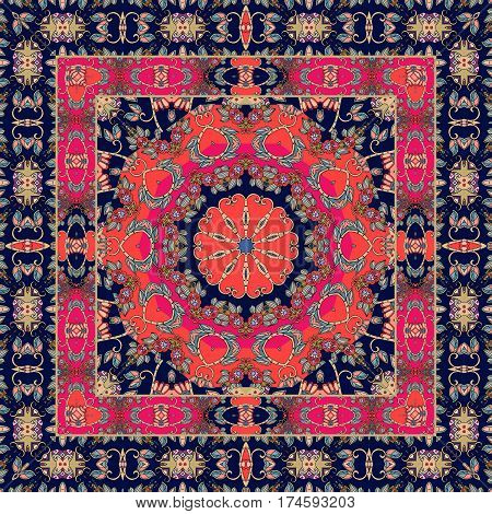Unusual carpet with ornamental border. Tablecloth. Shawl. Bandana. Boho style. Scarf.