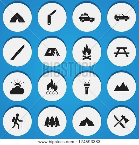 Set Of 16 Editable Travel Icons. Includes Symbols Such As Fever, Voyage Car, Tepee And More. Can Be Used For Web, Mobile, UI And Infographic Design.