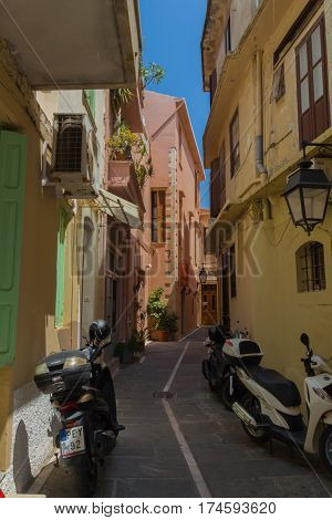 Rethymno, Greece - August  1, 2016:  Narrow Street Of The Old Town.