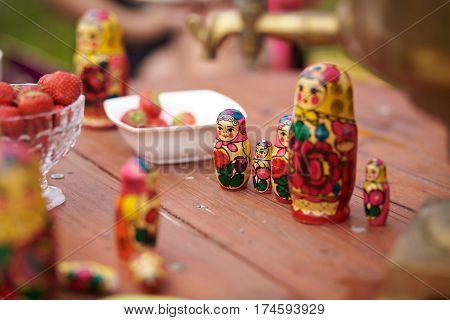 Samovar and matryoshka dolls. Russian national attributes
