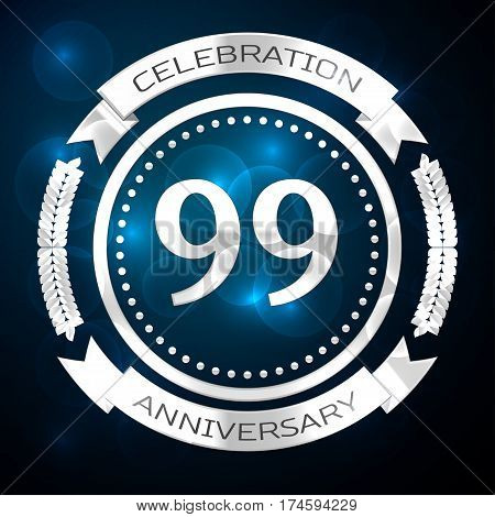 Ninety nine years anniversary celebration with silver ring and ribbon on blue background. Vector illustration