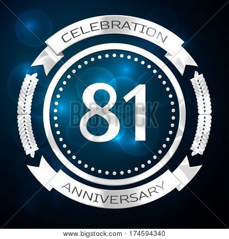 Eighty one years anniversary celebration with silver ring and ribbon on blue background. Vector illustration
