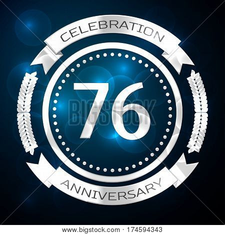 Seventy six years anniversary celebration with silver ring and ribbon on blue background. Vector illustration
