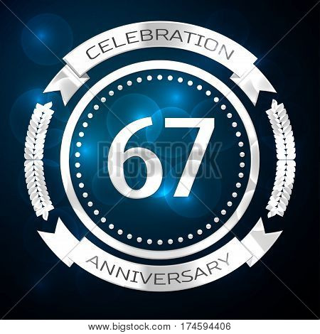 Sixty seven years anniversary celebration with silver ring and ribbon on blue background. Vector illustration
