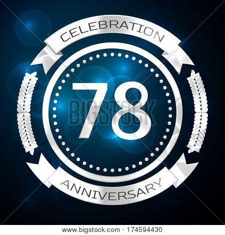 Seventy eight years anniversary celebration with silver ring and ribbon on blue background. Vector illustration