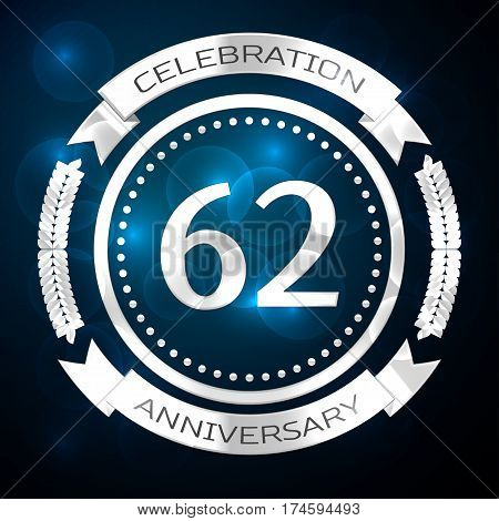 Sixty two years anniversary celebration with silver ring and ribbon on blue background. Vector illustration