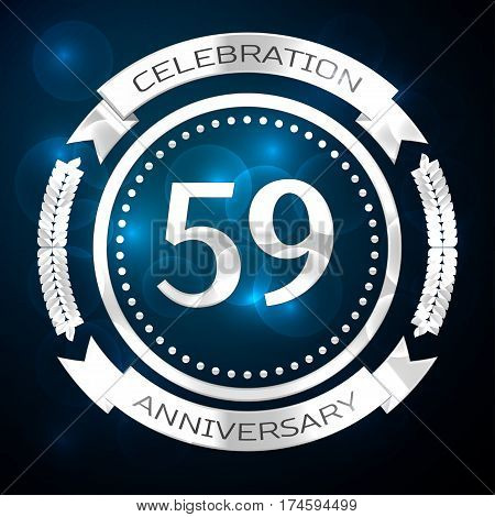 Fifty nine years anniversary celebration with silver ring and ribbon on blue background. Vector illustration