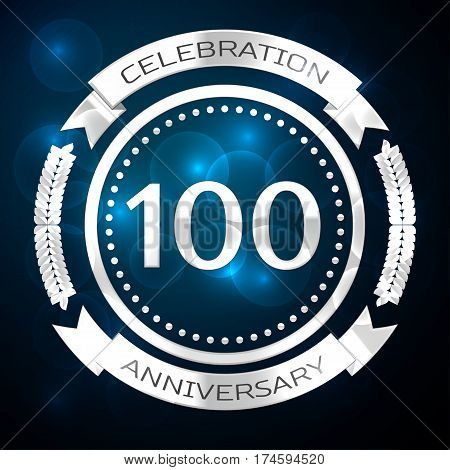 Hundred years anniversary celebration with silver ring and ribbon on blue background. Vector illustration