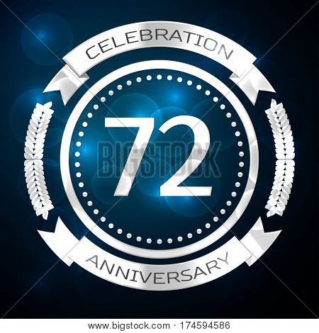 Seventy two years anniversary celebration with silver ring and ribbon on blue background. Vector illustration