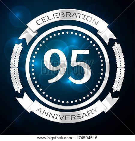 Ninety five years anniversary celebration with silver ring and ribbon on blue background. Vector illustration