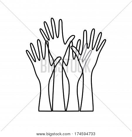 sketch silhouette set hands raised icon vector illustration