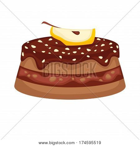 Cake or brownie torte with chocolate glaze and apple fruit topping. Vector template icon for pastry or patisserie and cafeteria