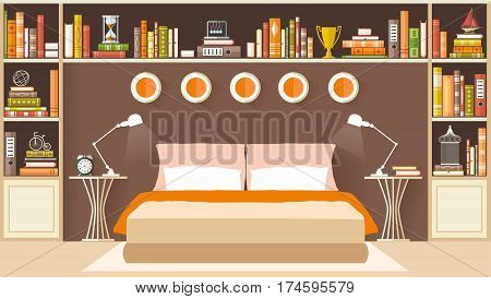 Bedroom Interior with furniture in flat style. Vector illustration. Bedroom design.