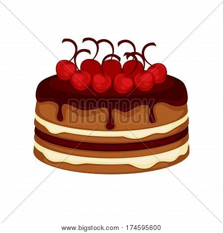Cake or chocolate brownie torte with cherry berry topping and whipped cream. Vector template icon for pastry or patisserie and cafeteria