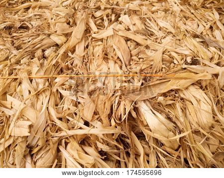 Stack of corn husks for animal feed