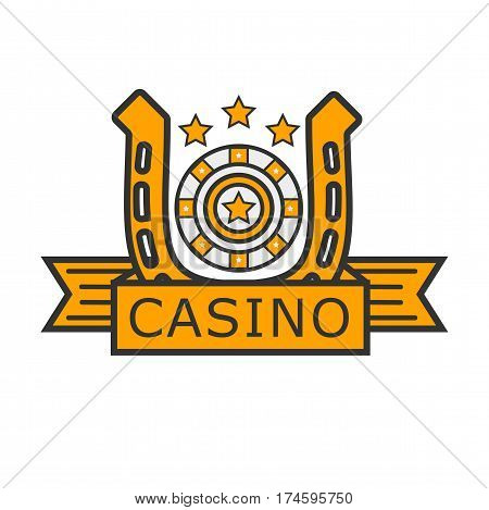 Casino poker logo template. Gambler roulette and golden horseshoe vector isolated icon