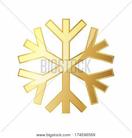 Gold snowflake icon. Golden snowflake isolated on white background. Vector illustration. Simple snowflake sign isolated.