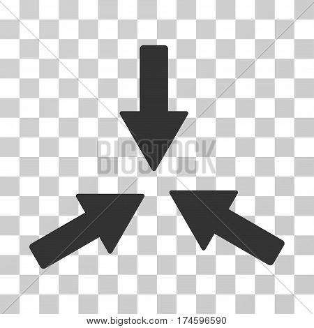 Collide 3 Arrows icon. Vector illustration style is flat iconic symbol, gray color, transparent background. Designed for web and software interfaces.