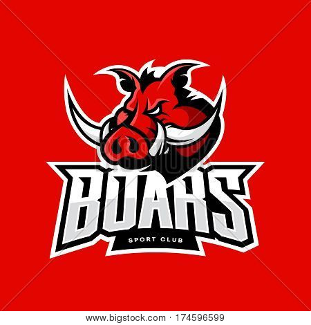 Furious boar sport club vector logo concept isolated on red background. Professional team badge design. Premium quality wild animal t-shirt tee print illustration.