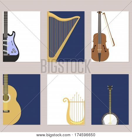Set of stringed cards with musical instruments classical orchestra art sound tool and acoustic symphony stringed fiddle equipment vector illustration. Performance classic folk rock artistic sign.