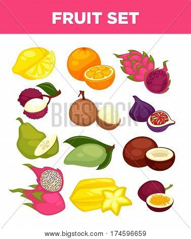 Exotic fruits of dragon fruit, carambola starfruit and mango, tropical drgaonfruit pithaya and passionfruit. Vector isolated icons of figs, lychee or orange citrus and coconut