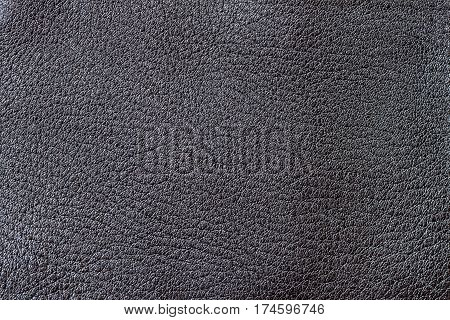 Black dark paint genuine leather background or texture. For background , backdrop, substrate, composition use. With place for your text