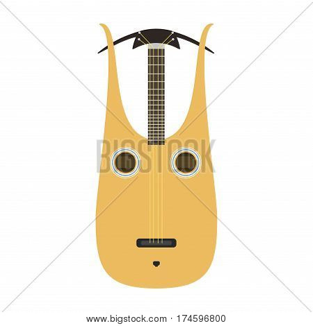 Dombra guitar icon stringed musical instrument classical orchestra art sound tool and acoustic symphony stringed fiddle wooden vector illustration