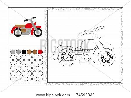 adult coloring book page with colored template decorative frame and color swatch - vector black and white contour picture - retro motorbike