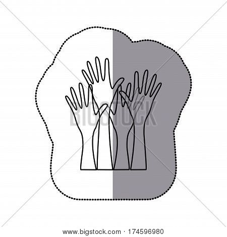 sticker sketch silhouette set hands raised icon vector illustration