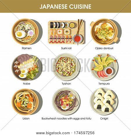 Japanese cuisine traditional dishes flat icons. Vector set of ramen and udon noodles, seafood tempura and sushi rolls, miso soup and tofu. Traditional Japan restaurant menu