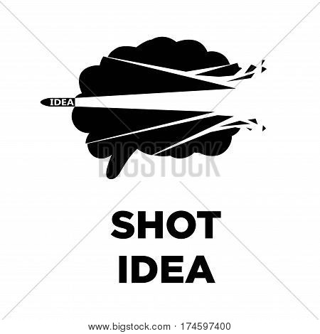 Brain shot idea art logo with bullet blast. Creative thinking and smart intelligence concept vector template icon