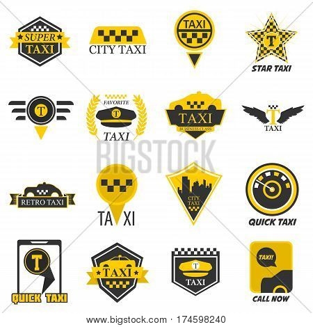 Taxi logo templates for company web or smartphone application icon. Yellow checkered symbol, taximeter, driver cap and retro star ribbon, city navigation pin, ribbons and wings